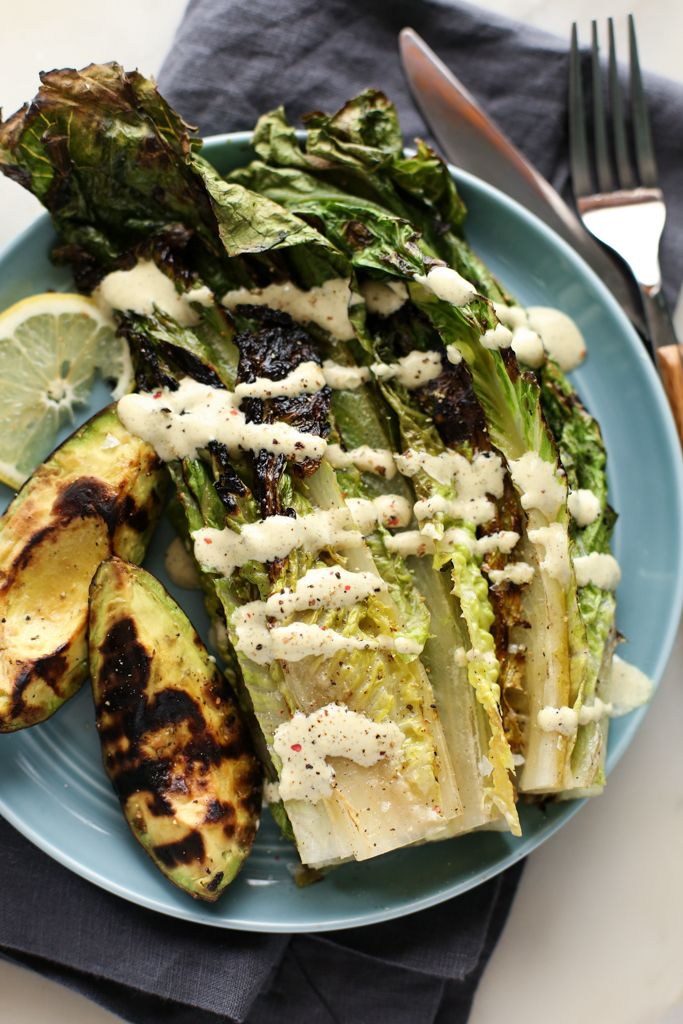 Grilled Avocado Romaine Caesar Salad Vegan Recipe Vegetarian Grilling Grilled Avocado Whole Food Recipes