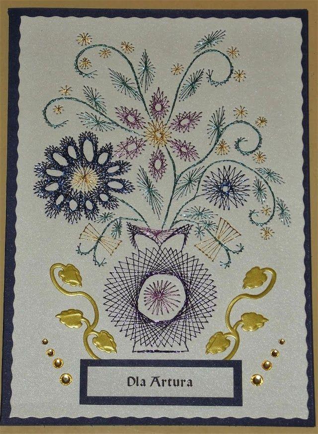 Haft Matematyczny Urodziny Imieniny Inne Paper Embroidery Embroidery Cards Stitching Cards