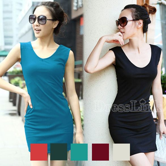 New Fashion Women's Girl Sleeveless Dress V Neck Bag Hip Dress 7 Colors