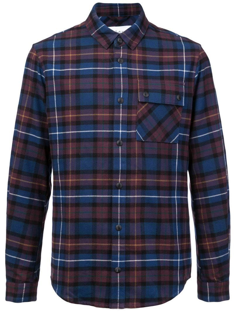 Aztech Mountain Loge Peak Ski Shirt Burgundy Plaid