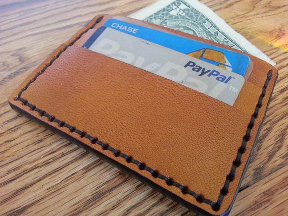 Genuine Leather Goatskin Tan  5 Pocket Wallet  by HeirloomLeather, $69.00