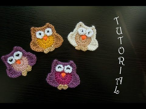 Sowa na szydełku - aplikacja. Crochet owl. Tutorial (eng.subt ...