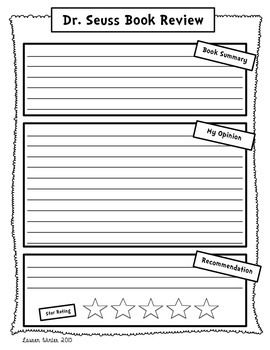 Dr Seus Book Review And Opinion Writing Freebie Activitie A Essay
