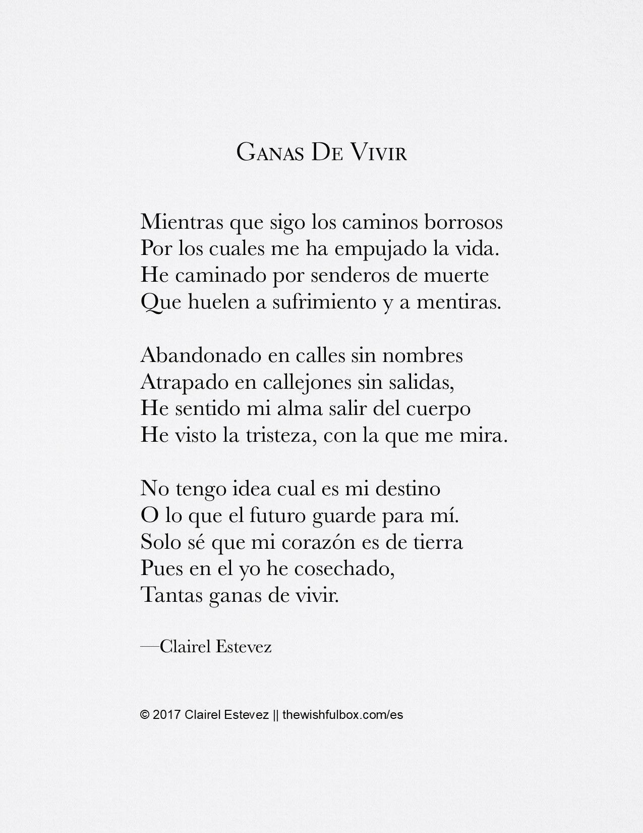 Ganas De Vivir escrito por Poeta/Escritora Clairel Estevez