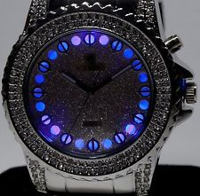 NEW ICED OUT SILVER METAL TONE BLING BLING HIP HOP ICE KING LIGHTS UP WATCH