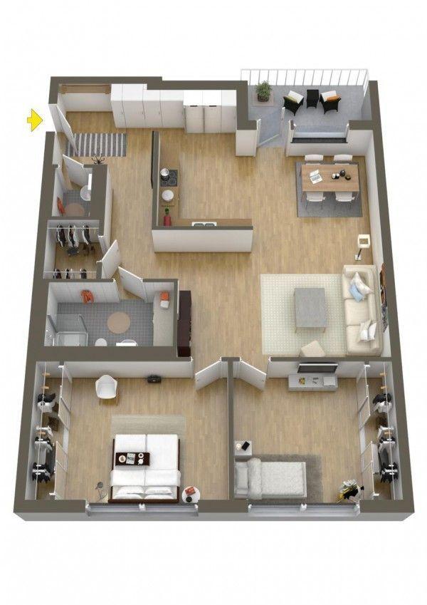 32 Beautiful Floor Plan 2 Bedroom Apartment Design In 2020 3d House Plans House Floor Plans Small House Plans