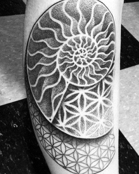 Ammonite tattoo. Symbol of science, paleontology, history, biology...