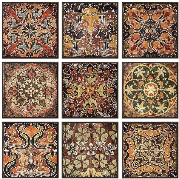 IMAX Set Of 9 Tuscan Tile Pattern Wall Art ($200) ❤ Liked On Polyvore