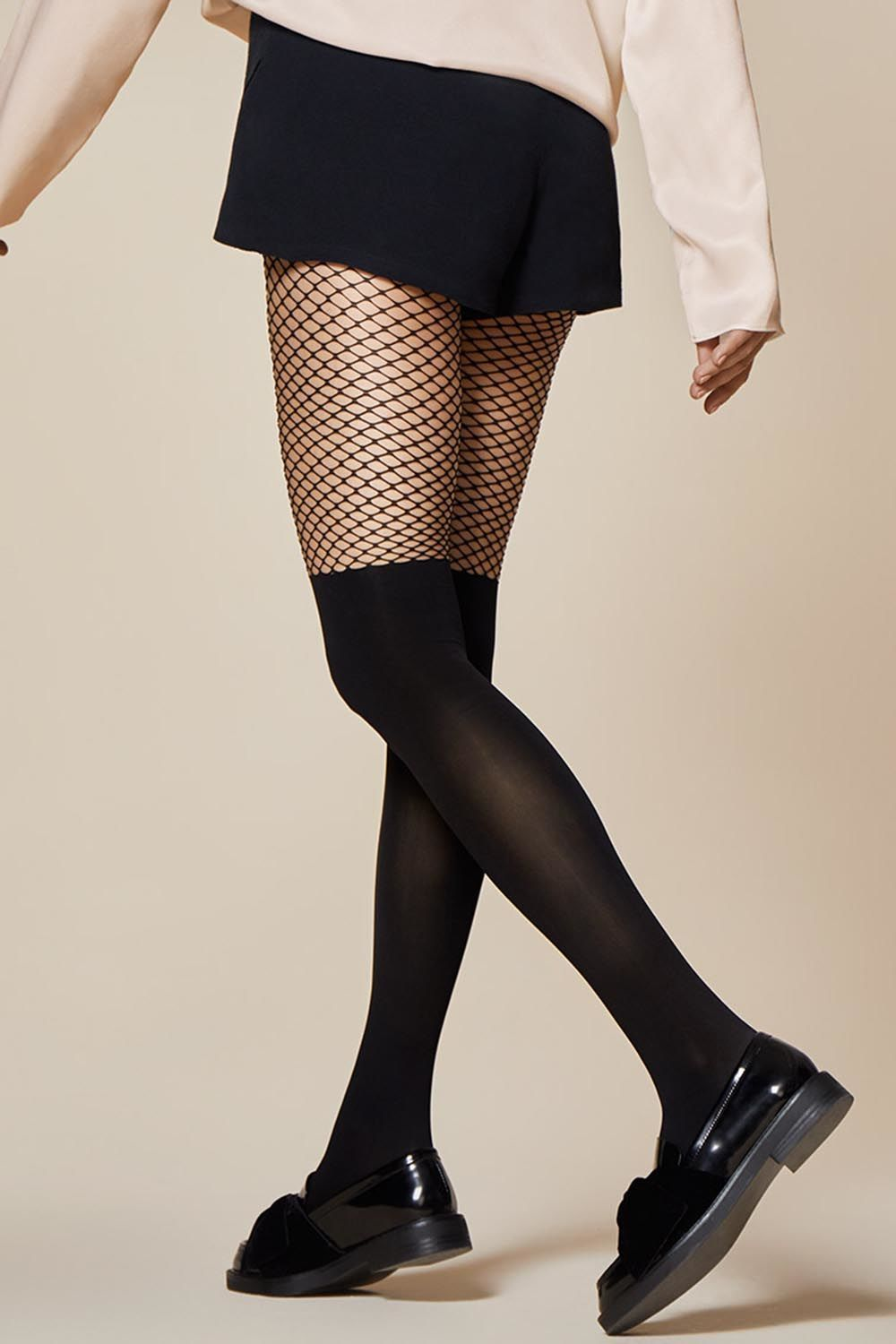 9dee988d9 Fishnet Tights With An Opaque Over-The-Knee Imitation Pattern By Fiore