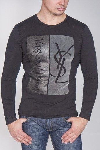 f3c5cf98 YVES SAINT LAURENT YSL MEN'S BROWN LONG SLEEVE SHIRT Color : Black ...