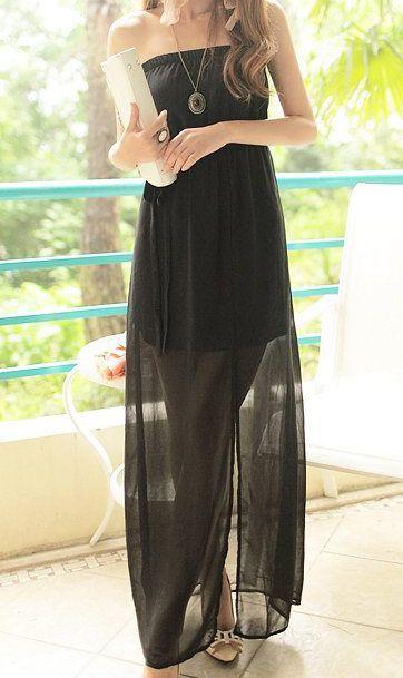 3948728ce0 Cute Cheap Bohemian long chiffon tube dress beach dress 9875 Black - Beach  Dresses Online Shopping Free Shipping