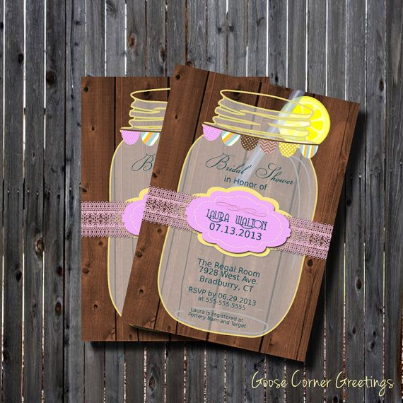 c3f24f1df269 Printable Mason Jar Bridal Shower Invitation-Wood- Lavender-Lemonade  Yellow-DIY-Rustic-Vintage- Country-Wedding-Shower-Rehearsal Dinner on Etsy