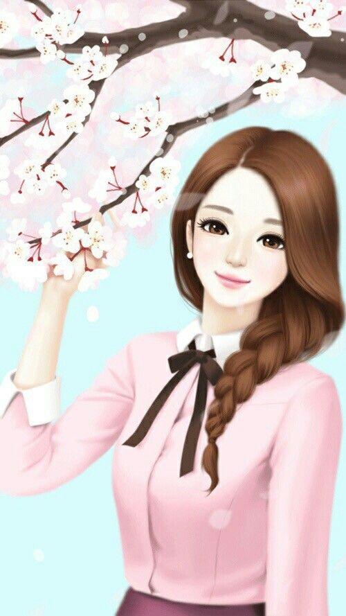 Cute Andro Girls Wallpaper Beautiful Girl Cartoon Wallpaper Www Pixshark Com