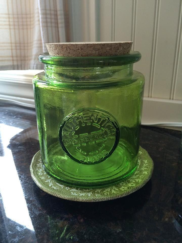 Lime Green Glass Jar With Cork Lid, Kitchen Storage, Bathroom Storage,  Laundry Storage
