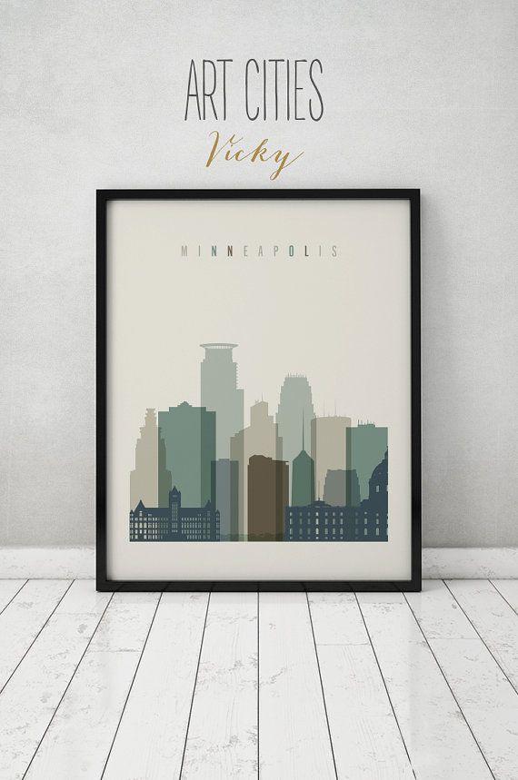 Minneapolis print, Poster, Minneapolis wall art, Minneapolis skyline ...