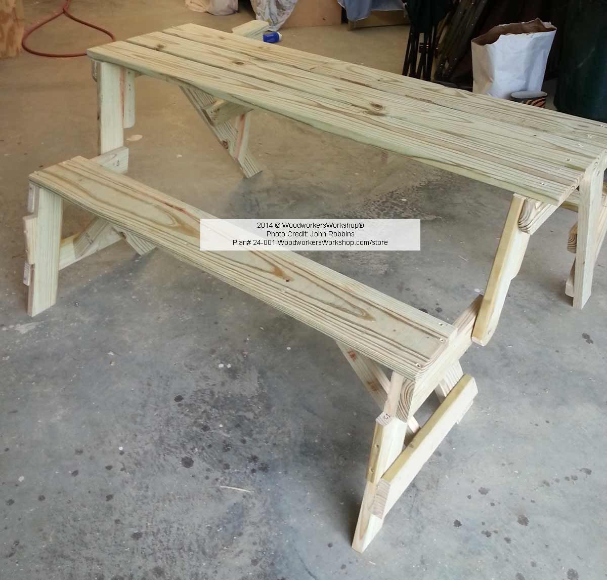 Folding Bench Picnic Table Woodworking Plan With Full Size