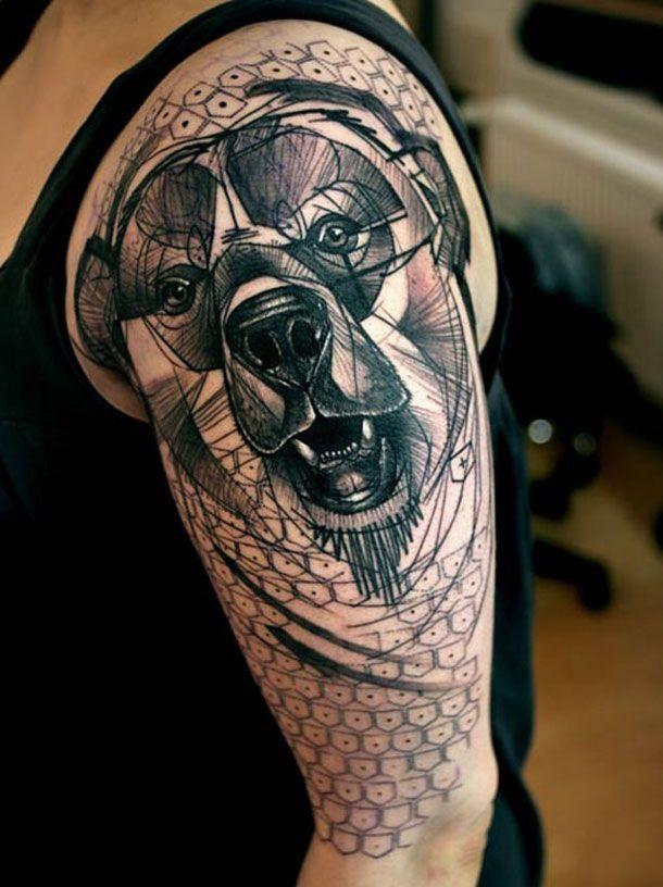 superbe tatouage chien sur l 39 paule tatoo pinterest epaule superbe et tatouages. Black Bedroom Furniture Sets. Home Design Ideas