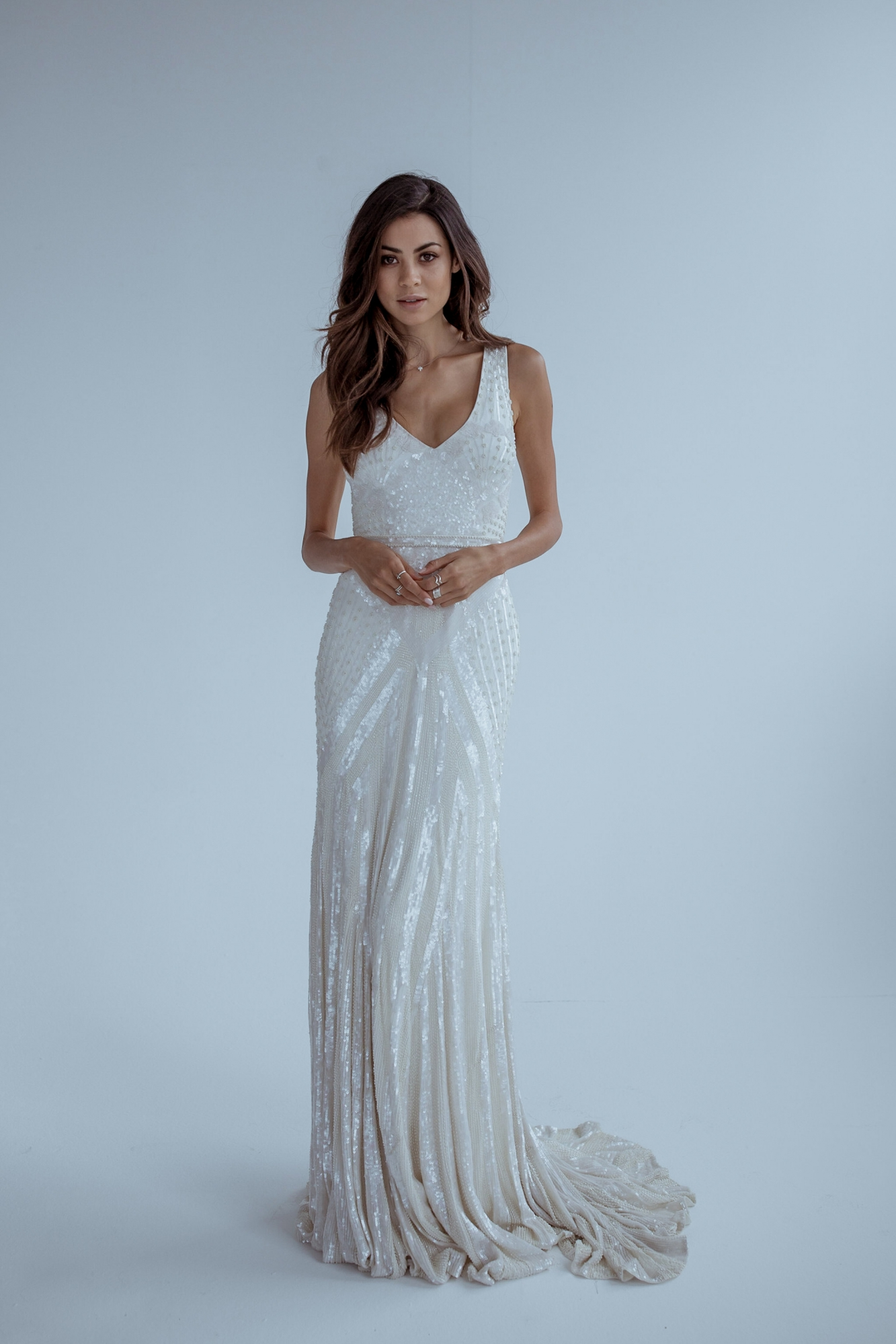 Fontanne is a gorgeous vneck gown that hugs the body for a fitted