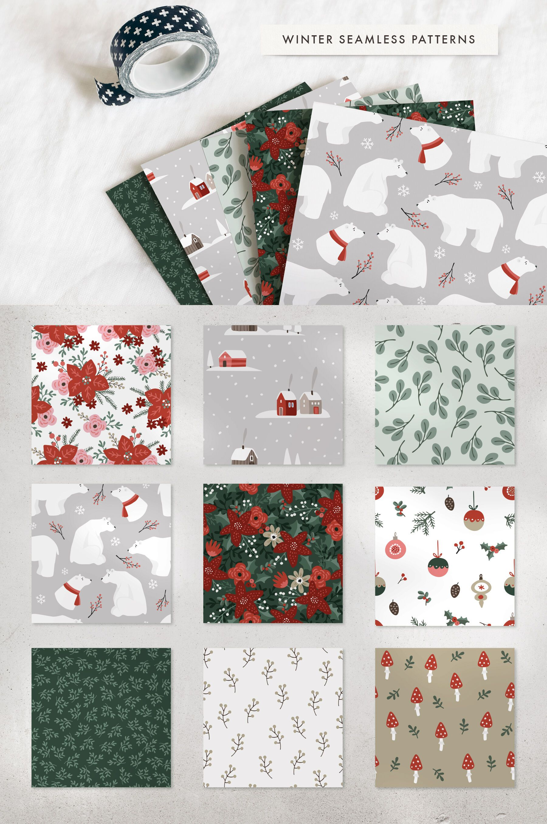 Bright Christmas illustrations, cards, patterns By Tabita