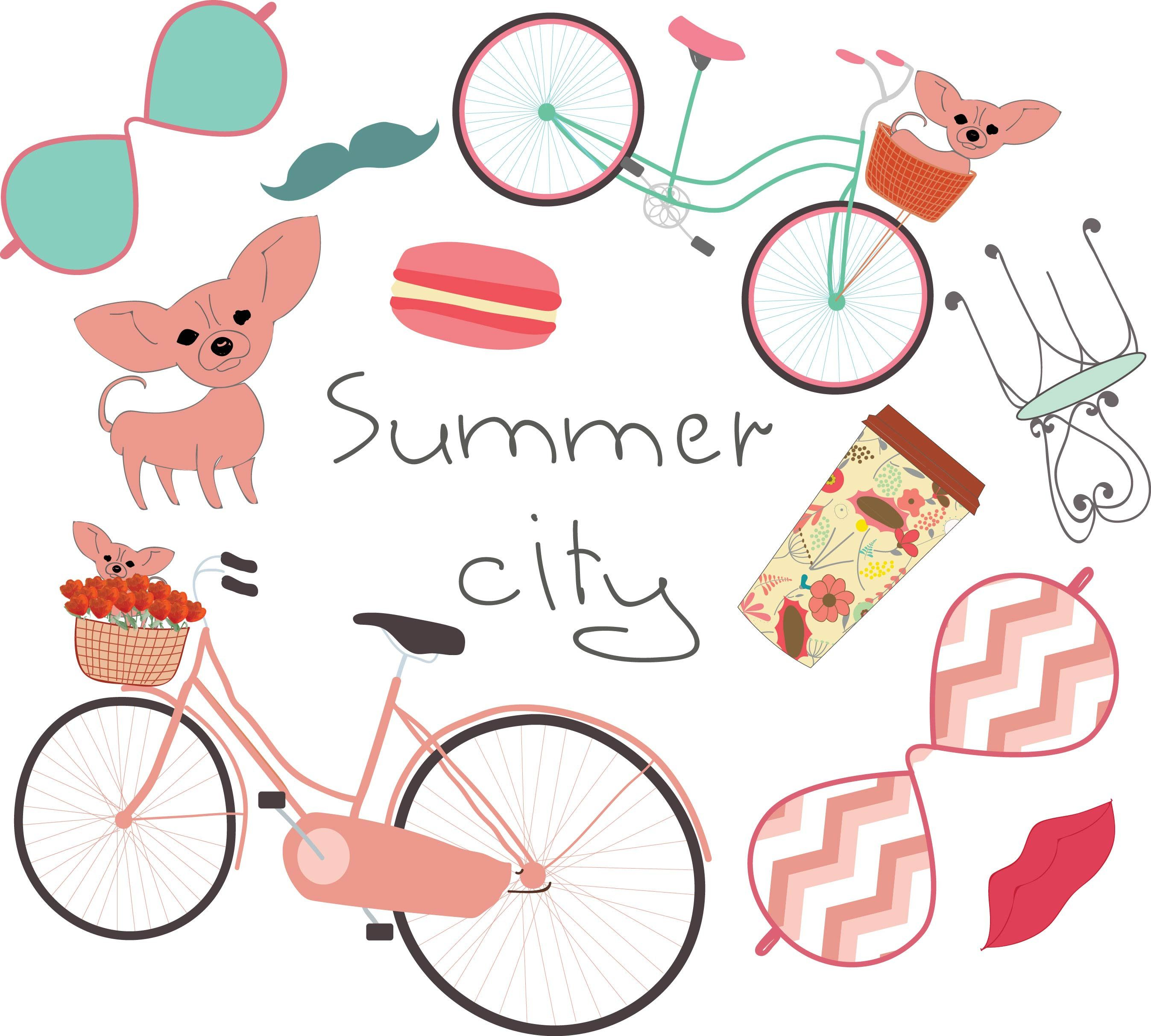 Summer city clipart png digital download planner stickers coffee chihuahua bicycle goggles instant clipart instant download