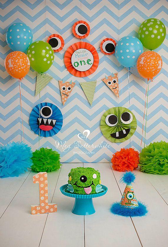 Little Monster Birthday Backdrop Little by SweetSisterCelebrate