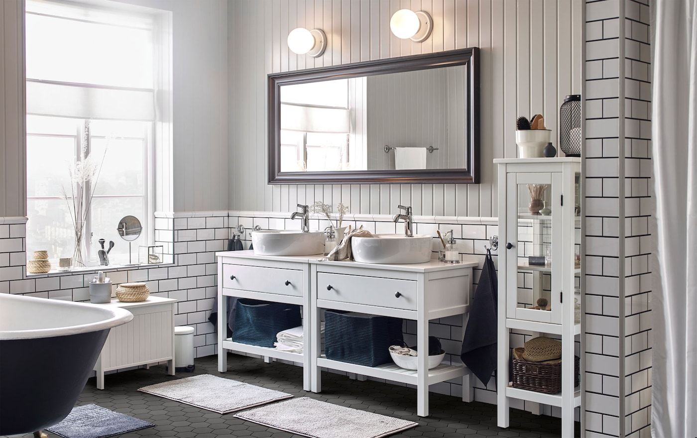 Recharge In A Relaxing Bathroom For Two Relaxing Bathroom Bathroom Vanity Bathroom Furniture