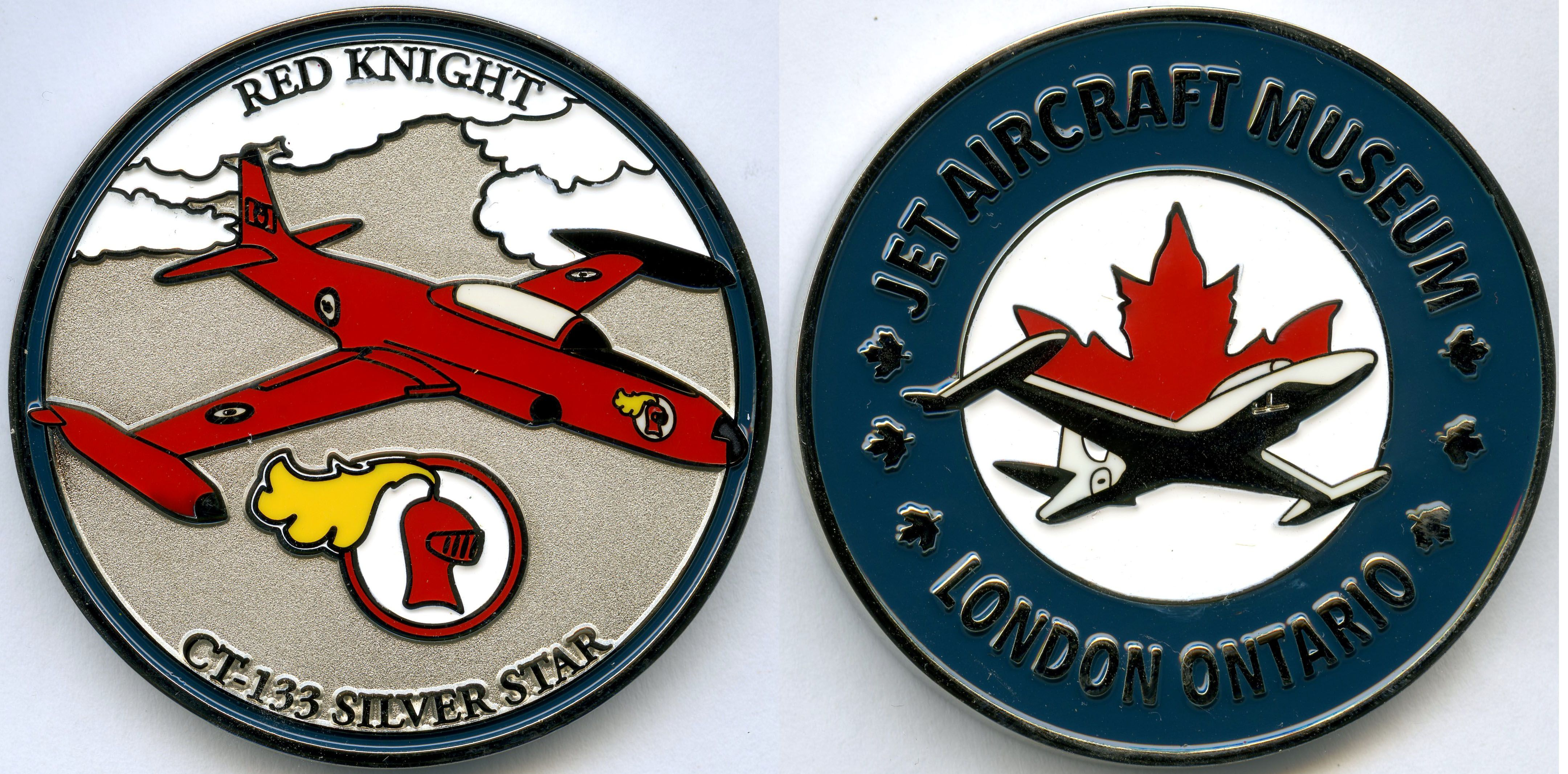 Red Knight Challenge Coin Jet Aircraft Museum Red