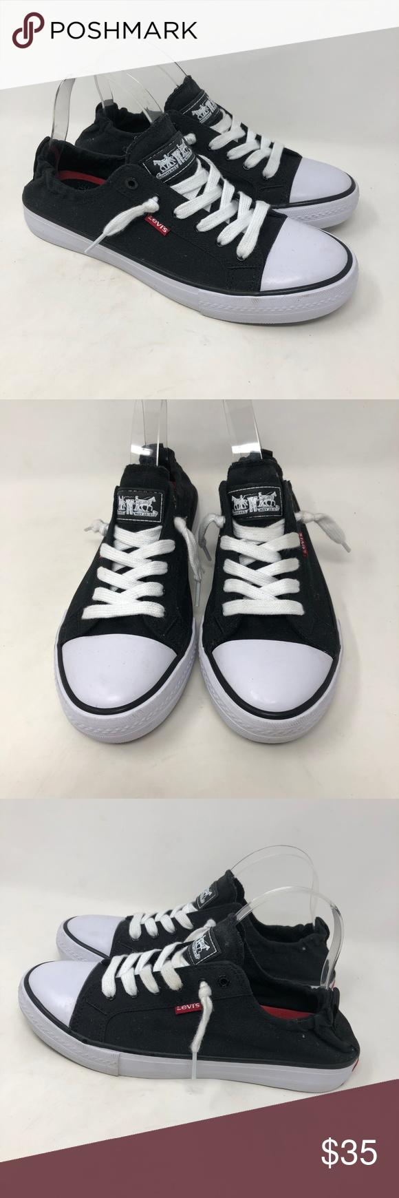 4baf55ee Levi's Stan G Comfort Tech Black Sneakers 9 -Levi's black canvas women's  comfort tech sneakers -Size 9 -Elastic in back ankle -Excellent condition  Levi's ...