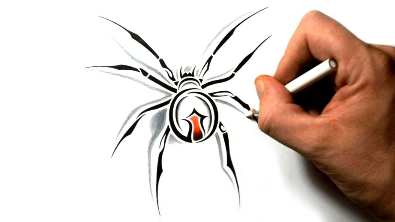 How To Draw A Black Widow Spider Tribal Tattoo Design Tribal Tattoo Designs Free Tattoo Designs Tribal Tattoos