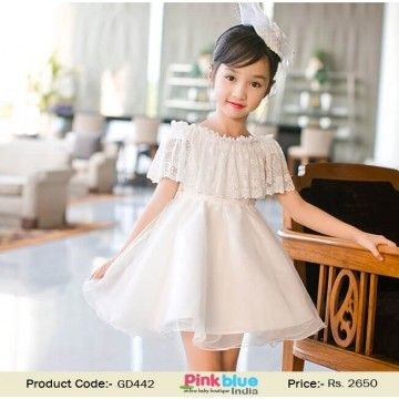 Ravishing White Cold Shoulder Birthday Party Outfit for Indian Kids ... fa93d638b7fb