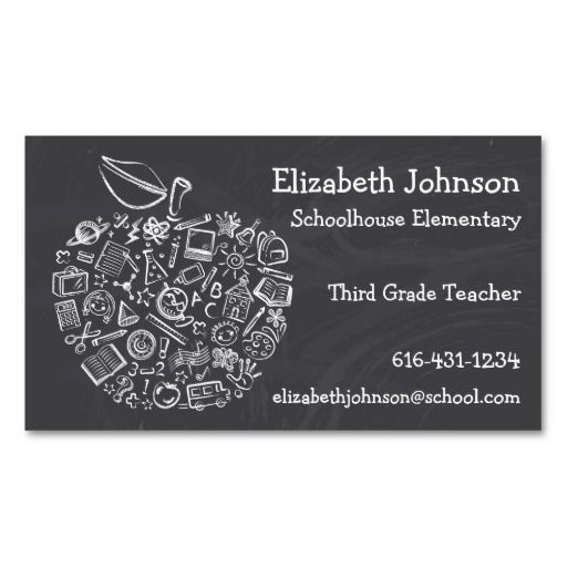 Teachers Apple Business Card Bizcardstudio Co Uk Teacher Business Cards Substitute Teacher Business Cards Apple Business