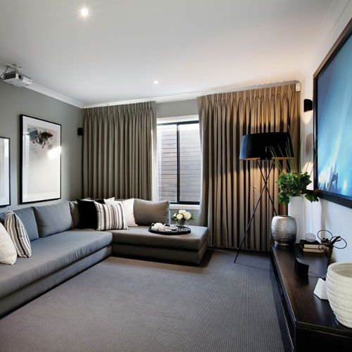 Curtains Ideas blackout pinch pleat curtains : 5 Ways You Can Enhance Your Movie Theatre Room | Curtains, Brown ...