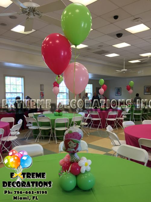Party Decorations Miami Balloon Sculptures Strawberry Shortcake Birthday Strawberry Shortcake Party Strawberry Party