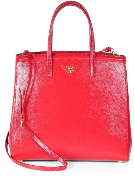 ... collection 59bae bb935  coupon code for prada saffiano vernice slim top  handle bag in red rosso red lyst youtube 307b50149d669