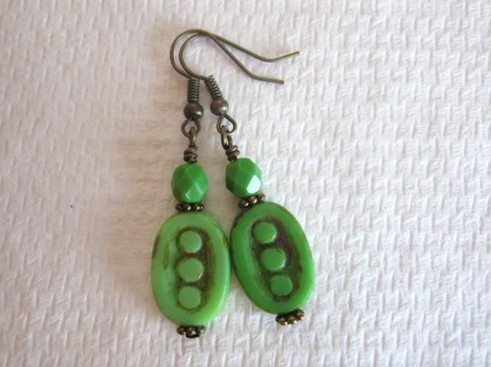 Czech Lime Green Dotted Oval Picasso Glass and Fire Polish Glass Bronze Tone Earrings $6