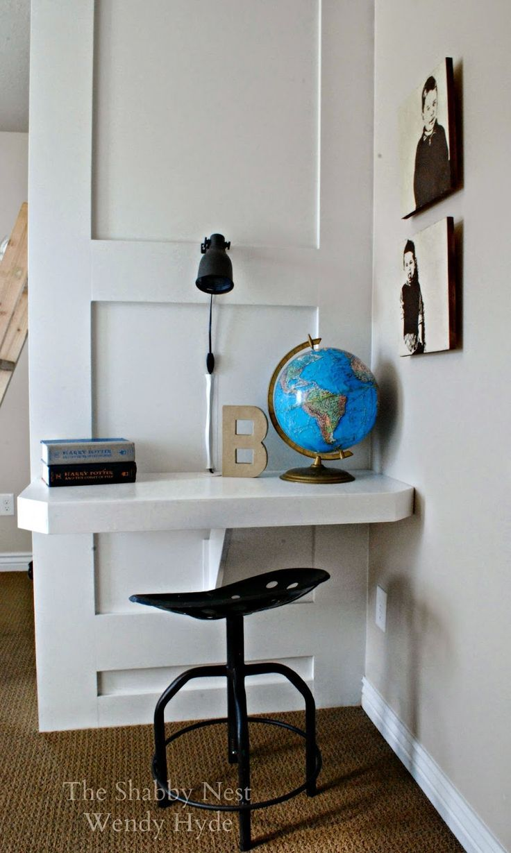 Clever Space-Saving Built-in Desk & Clever Space-Saving Built-in Desk | Ideas for the House | Pinterest ...
