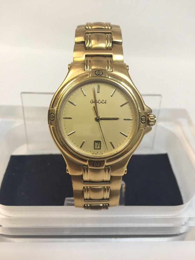 gucci 9240 goldtone stainless steel quarts date round vintage gucci 9240 goldtone stainless steel quarts date round vintage men s watch in jewellery watches