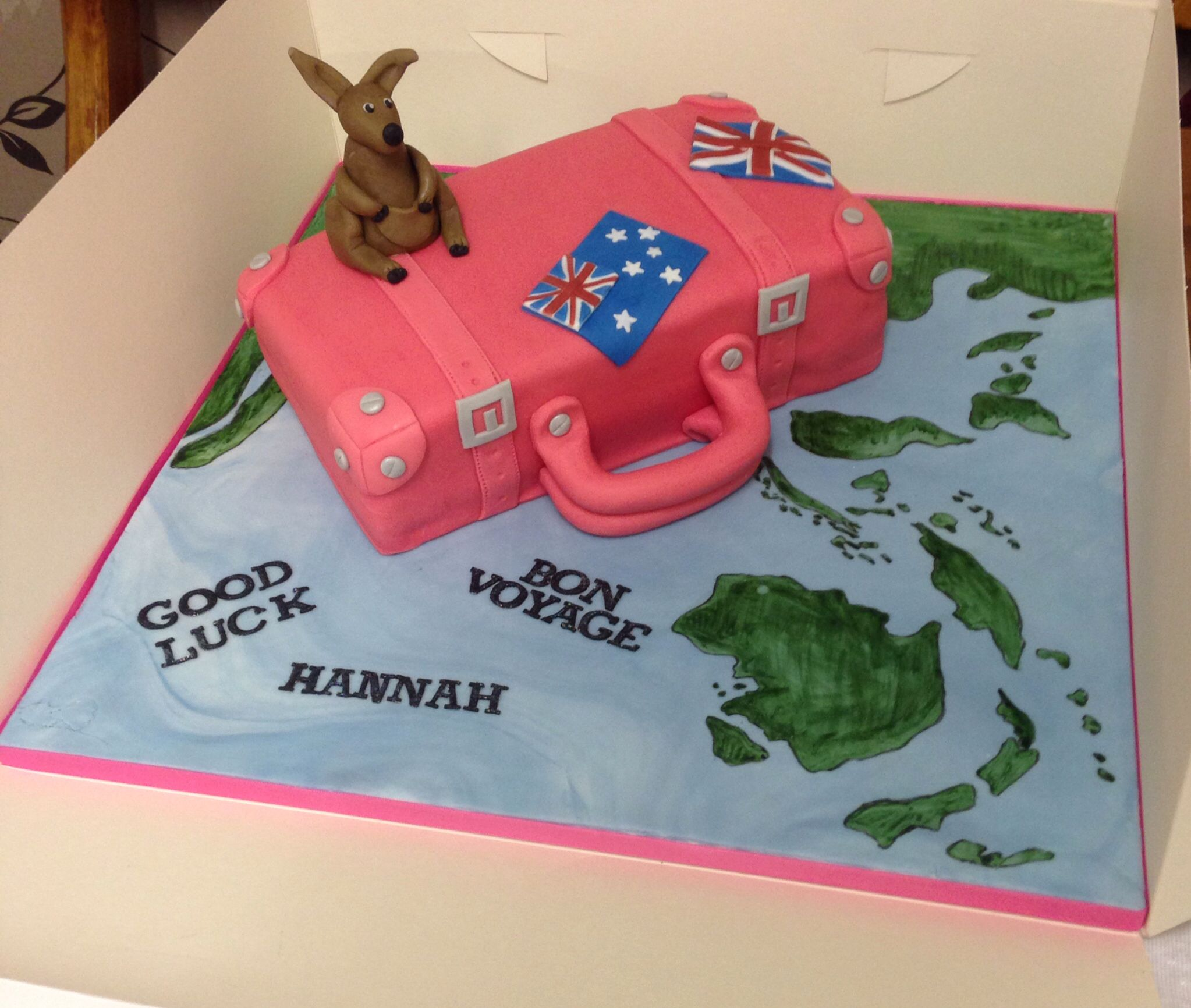 A pink suitcase cake for a lady traveling abroad to Australia ...