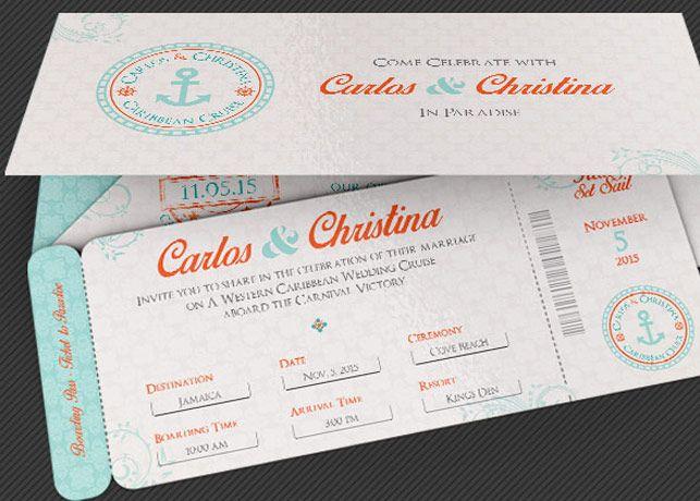 Wedding Cruise Boarding Pass Invitation Template | Church Print
