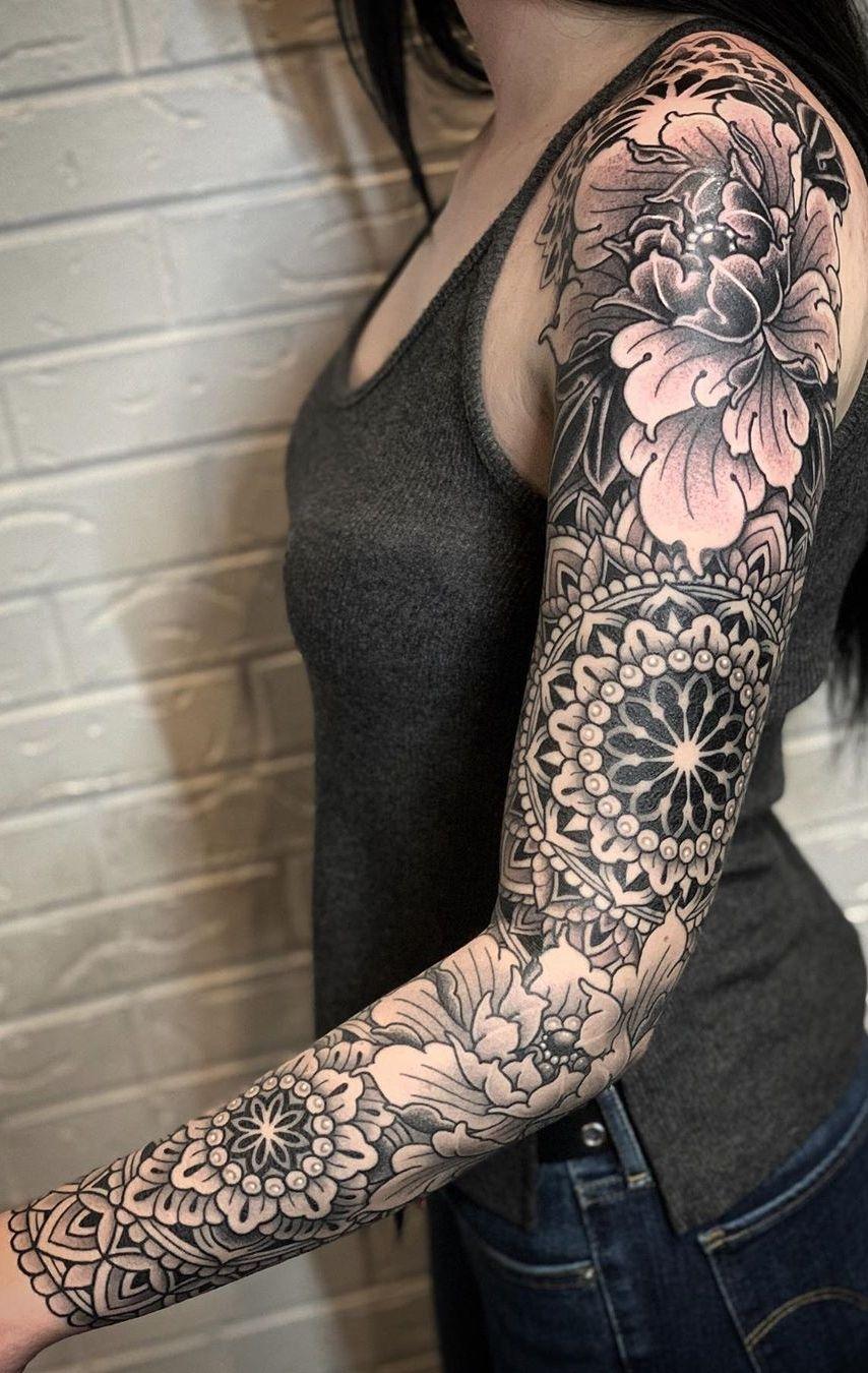 50 Of The Most Beautiful Mandala Tattoo Designs For Your Body Soul Geometric Sleeve Tattoo Arm Sleeve Tattoos For Women Feminine Tattoo Sleeves