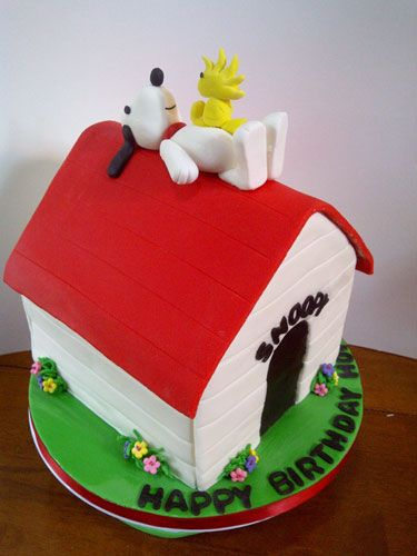 The Sweetest Tiers Snoopy Woodstock Doghouse Cake inspired by