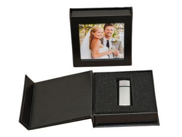 usb box mit bildfenster kunstleder schwarz ohne usb stick hochzeit dvd cd usb blue ray h lle. Black Bedroom Furniture Sets. Home Design Ideas