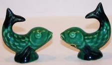 VINTAGE ROSEMEADE ART POTTERY Green Dolphin Salt and Pepper Shakers with Label