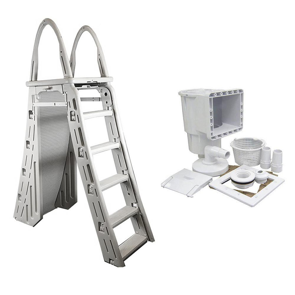 Confer Confer A Frame Swimming Pool Ladder And Pool Skimmer 7200 Sp1091lx The Home Depot Pool Skimmer Swimming Pool Ladders Pool Ladder