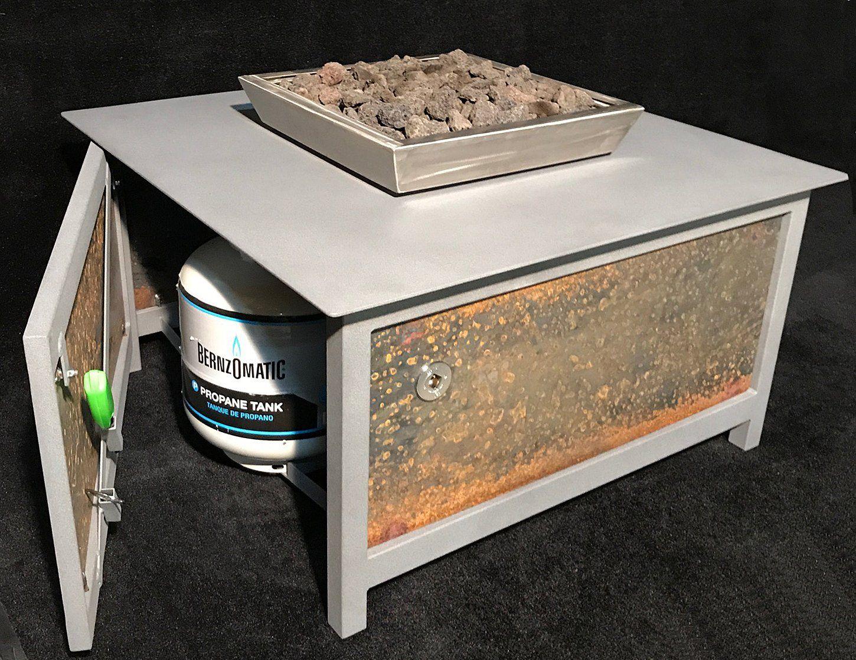 Heavy duty gas fire table u mock rock gray u raw steel u square