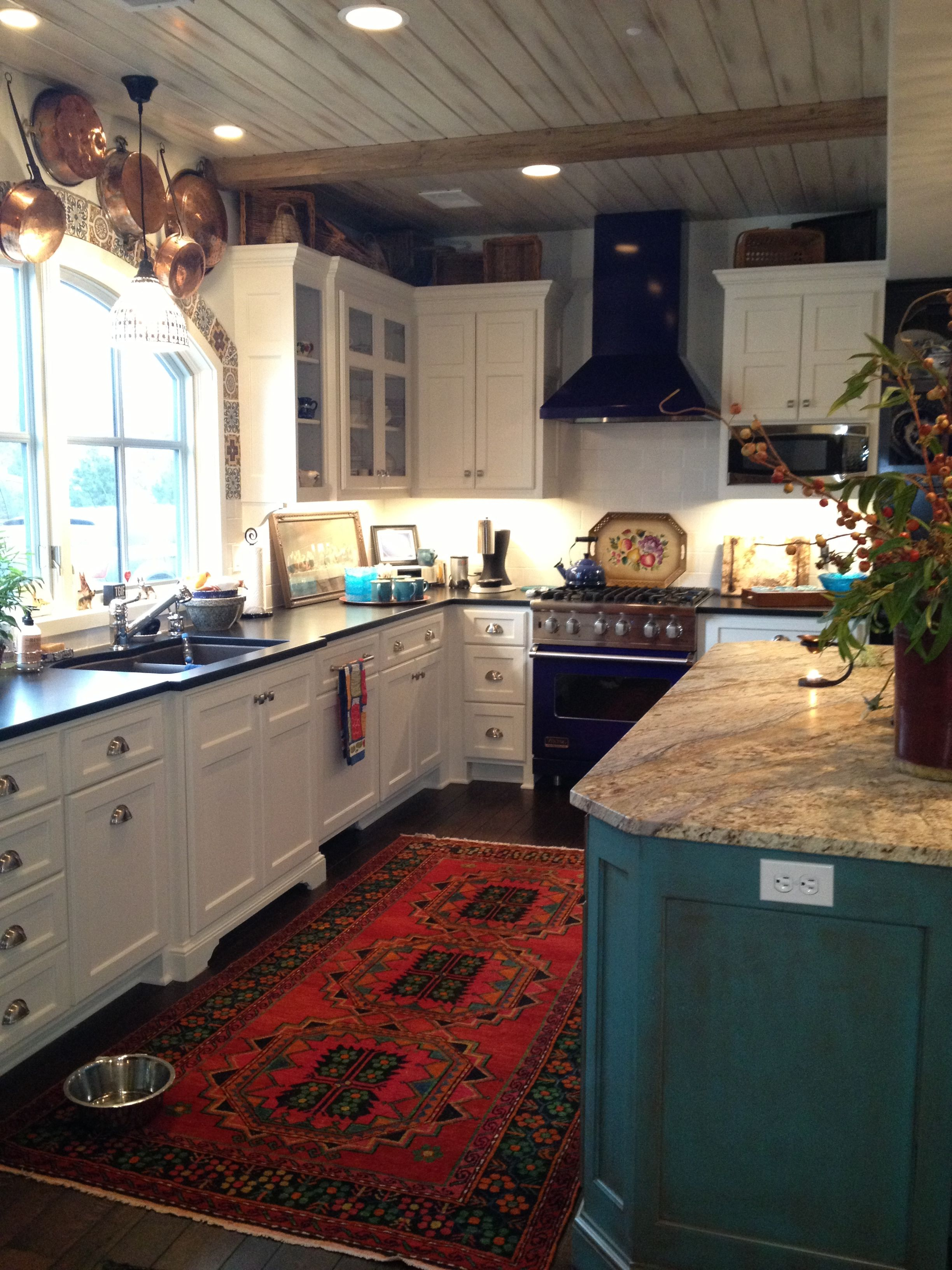 awesome turquoise kitchen cabinets dining | White cabinets, dark floors, red rug, turquoise antiqued ...