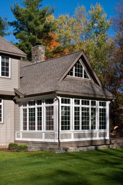 Sunroom addition with room above perhaps a couple dormers for Timber frame sunroom addition