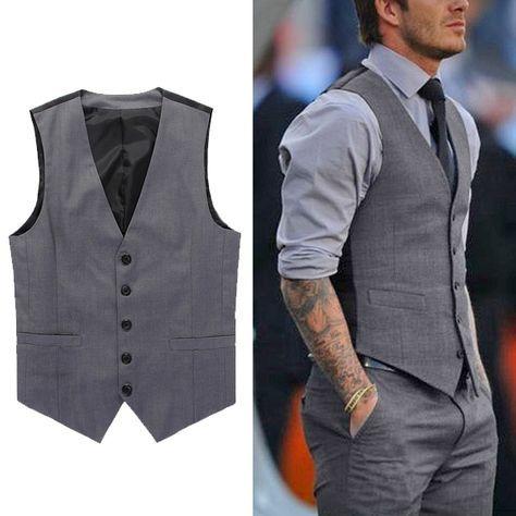 Men/'s Trendy Button Formal Business Slim Fit Dress Vest Suit Tuxedo Waistcoat