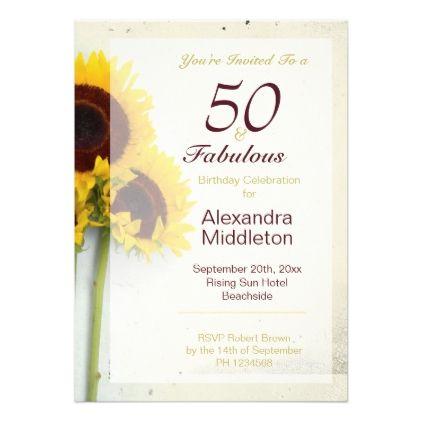 Sunflower Rustic 50th Birthday Invitation   Zazzle.com ...