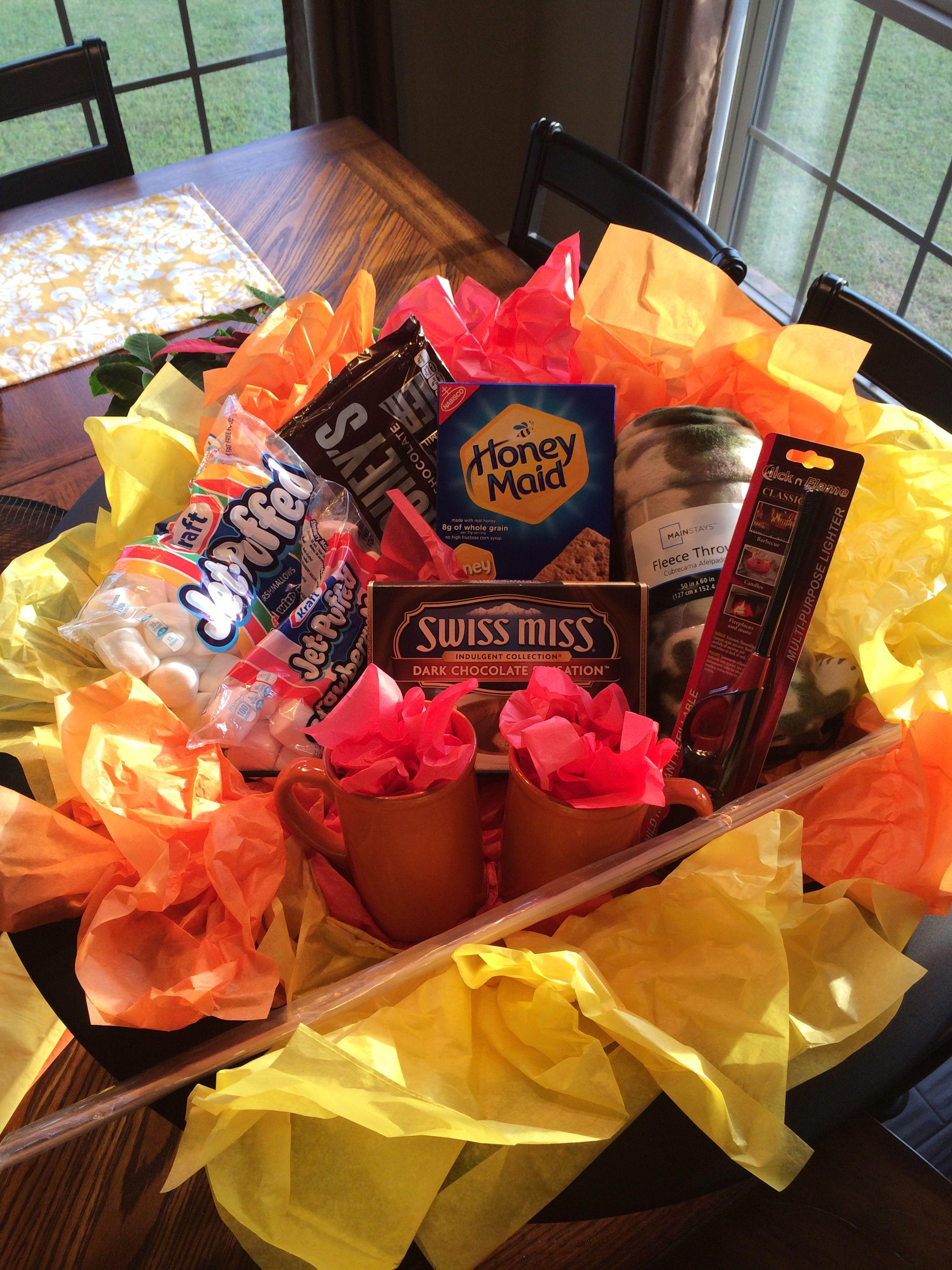 Fire pit backyard bonfire gift basket. Good for a silent ...